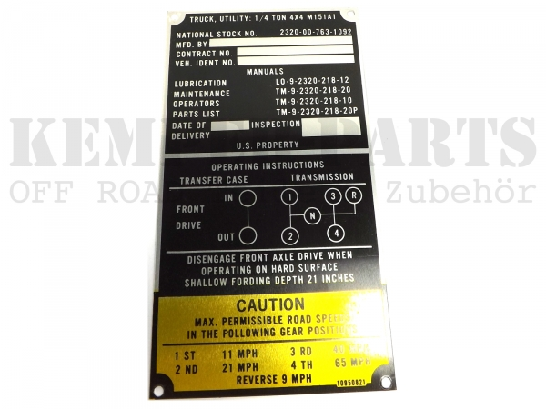M151 Typenschild / Data Plate A1