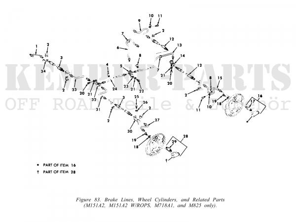 M151 A2 Bremsleitung Hinterachse zum Rad, links