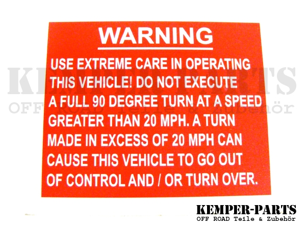 M151 Aufkleber - Use Extreme Care