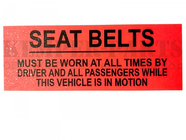 Mil. Sticker - Seat Belts