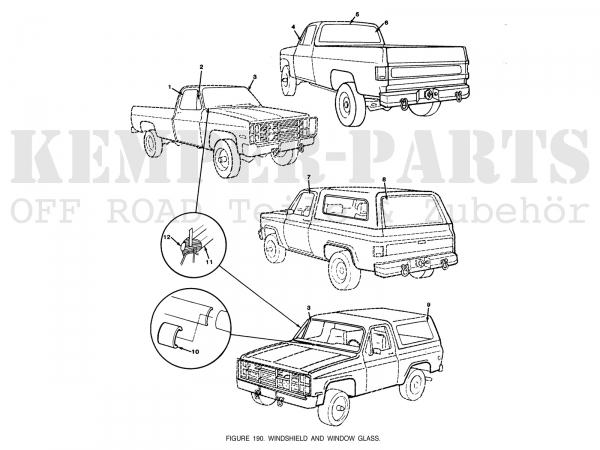 Chevrolet Seitenscheibe (Türfenster) K30/K5 - links