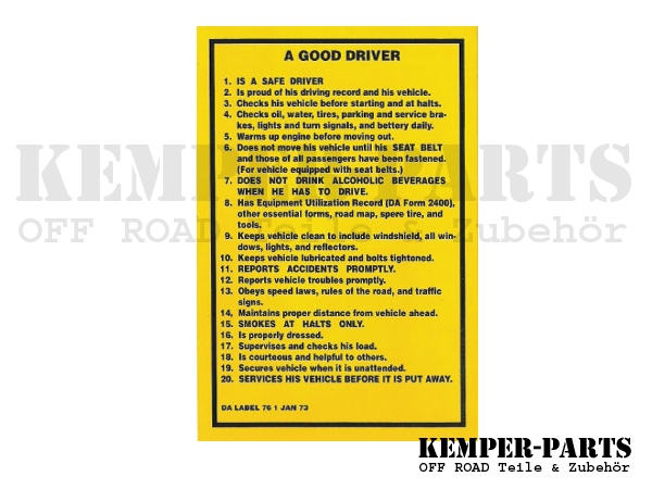 M151 Aufkleber - Good Driver / Jan. 73