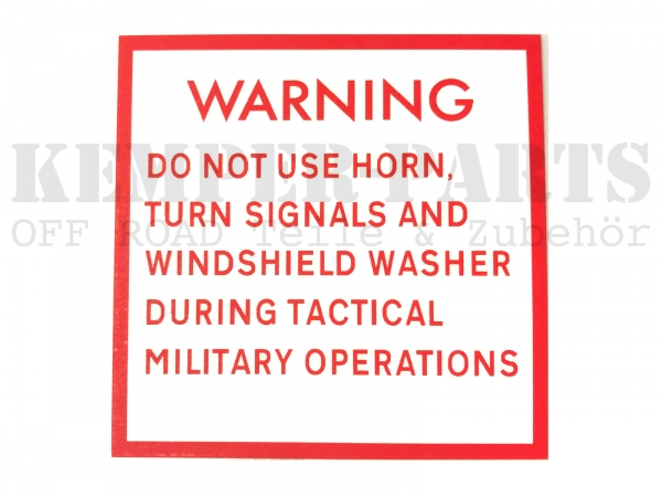 Mil. Sticker - WARNING Do Not Use