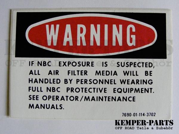 M151 Sticker Warning NBC
